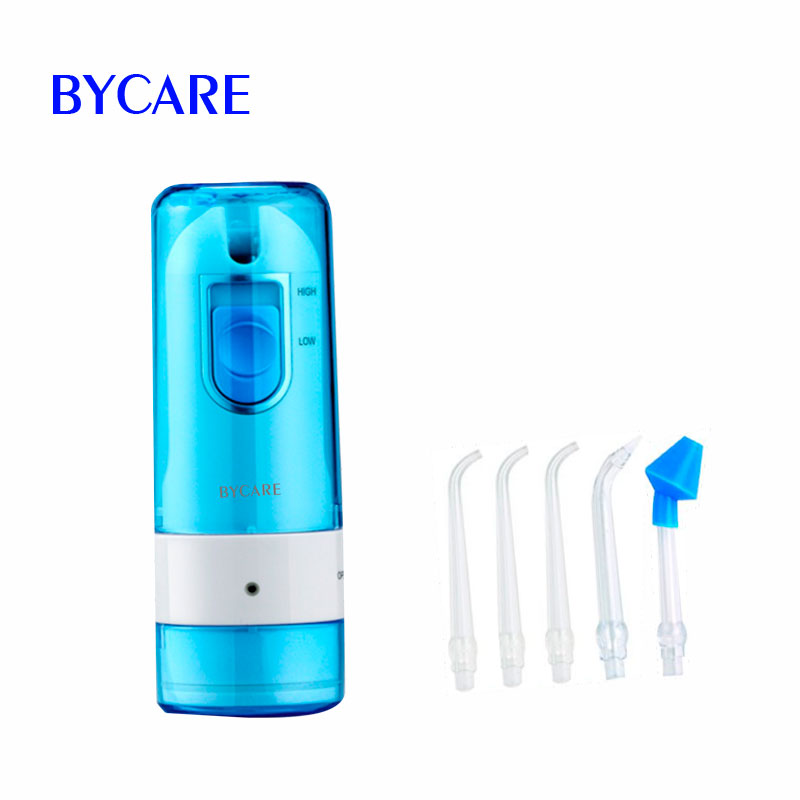 BYCARE Rechargeable travel water flosser ultra dental water jet teeth cleaner with 200ML water tank and 5 tips 2017 teeth whitening oral irrigator electric teeth cleaning machine irrigador dental water flosser professional teeth care tools