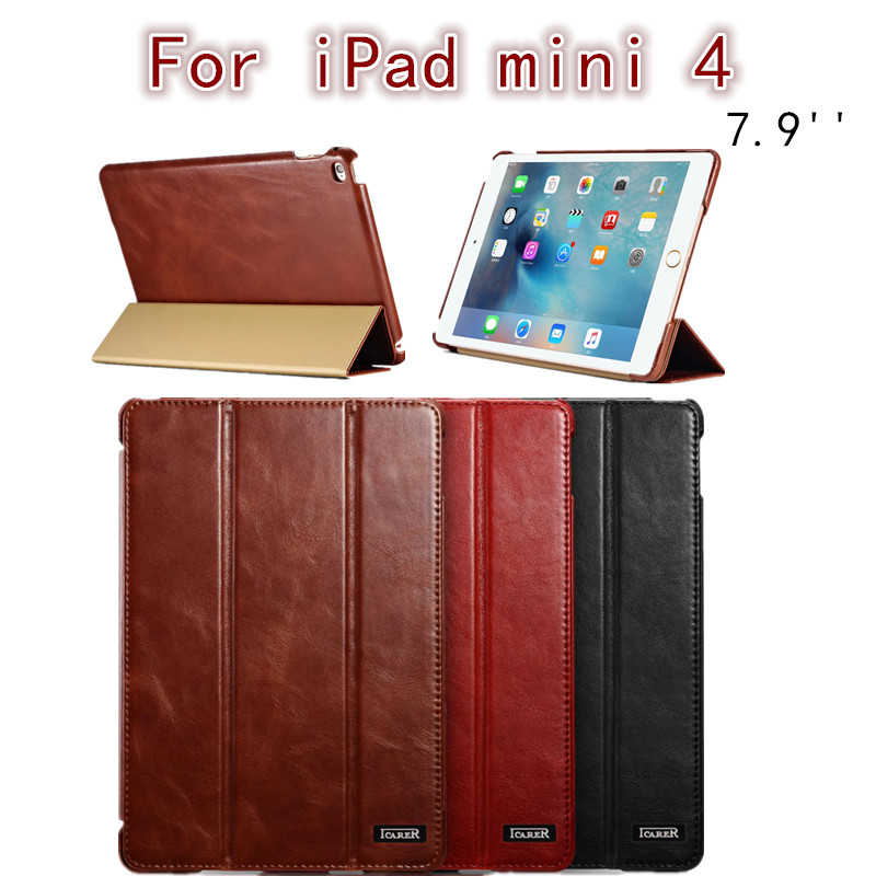 Icarer Retro case For ipad mini 4 7.9 new fashion real leather Flip Tablet Case cover for Apple iPad mini4 7.9 protective stand