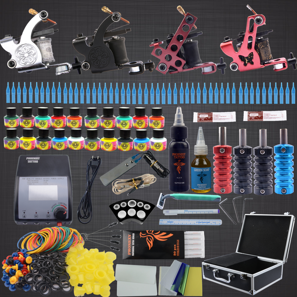 New Arrival  4 Gun Tattoo Kit Glitter Complete Machine Equipment Sets+Ink +Needles+Power Supply+Grips+ Skin 1 sets complete 4 gun tattoo kits professional machine equipment teaching cd ink needles power supply for beginners body art