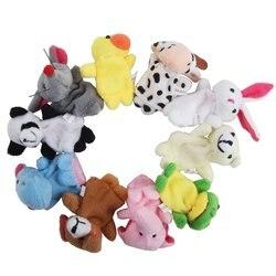 Apuramento!! 10 pçs/lote, bebê Plush Toy Puppets/Dedo/Contar a História Props (10 grupo animal) Boneca Animal/Kids Brinquedos/Presente das crianças