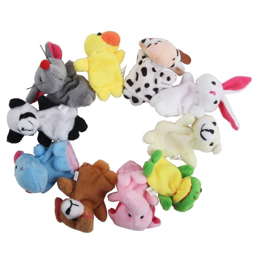 Clearance!!10 Pcs/lot, Baby Plush Toy/ Finger Puppets/Tell Story Props(10 Animal Group) Animal Doll /Kids Toys /Children Gift
