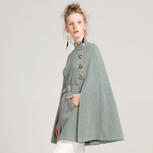 YIGELILA Latest Autumn Women High Street O-neck Single Breasted Batwing Sleeve Belt Slim Plaid Cape Coat Poncho Cloak 9600(China)