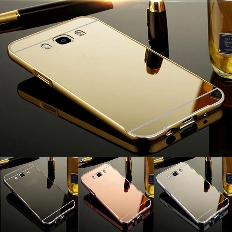 Coque de luxe en aluminium pour Samsung Galaxy J7 2016, J710, J710F, avec cadre métallique, Rose, or, miroir