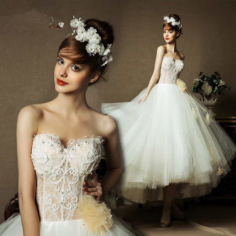 Popular tea length dress pattern buy cheap tea length for Sweetheart neckline tea length wedding dress