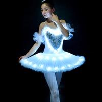 Professional Ballet Tutus LED Swan lake Adult Ballet Dance Clothes Tutu Skirt Women Ballerina Dress for Party