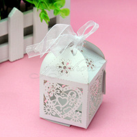 50x Sweet Candy Boxes White Stylish Love Heart Style Romantic For Wedding Party