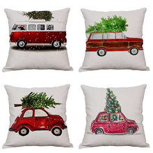 1pcs New Year Christmas pillow Christmas Tree Linen Pillowcase Cartoon Car Christmas Decorations for Home Gifts Navidad 2019