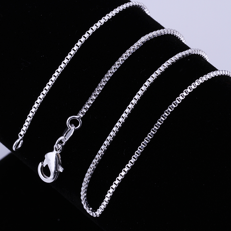 Wholesale 16-24inches Charms wedding 1MM Box style chain silver color cute women Men necklace jewelry silver fashion cute C007