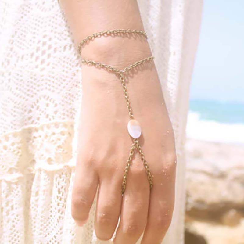 Surou Western New Style Ornaments Summer Fashion Shells Simple Cross Female Finger Chain Boho Bijouterie Harajuku