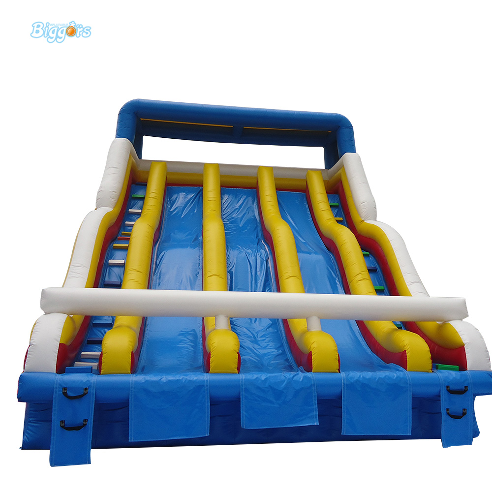 commercial grade inflatable pool slide three lanes water slide for water park to hvae fun