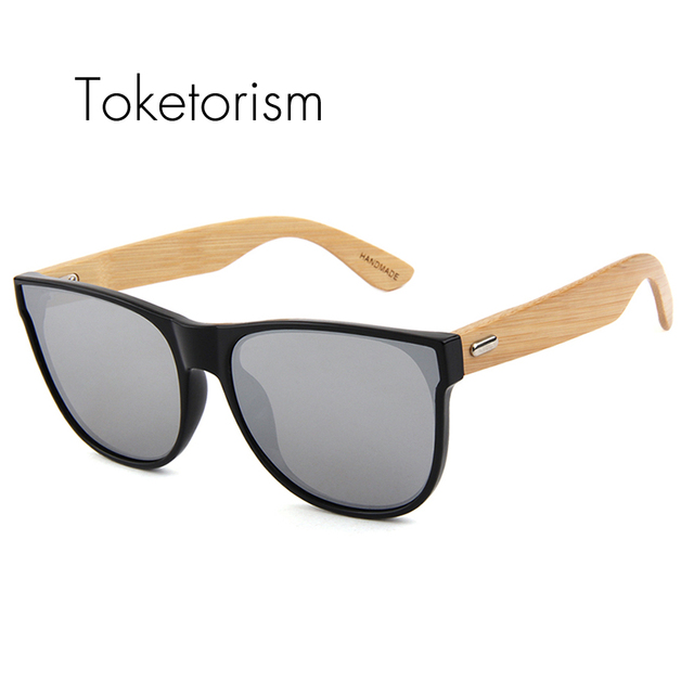 7026e847c4b59 Toketorism Fashion Bamboo Sunglasses Mirror Coating Flat Panel Lens bambu  wood oculos de sol feminino masculino 513