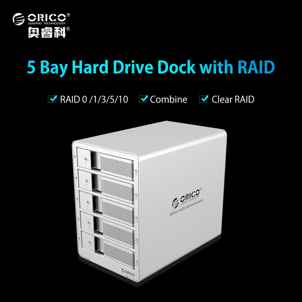 ORICO 5 bays 3.5'' USB3.0 to SATA 3.0 HDD Enclosure 5 bay HDD Docking Station Case with Raid Function for Laptop PC - Silver