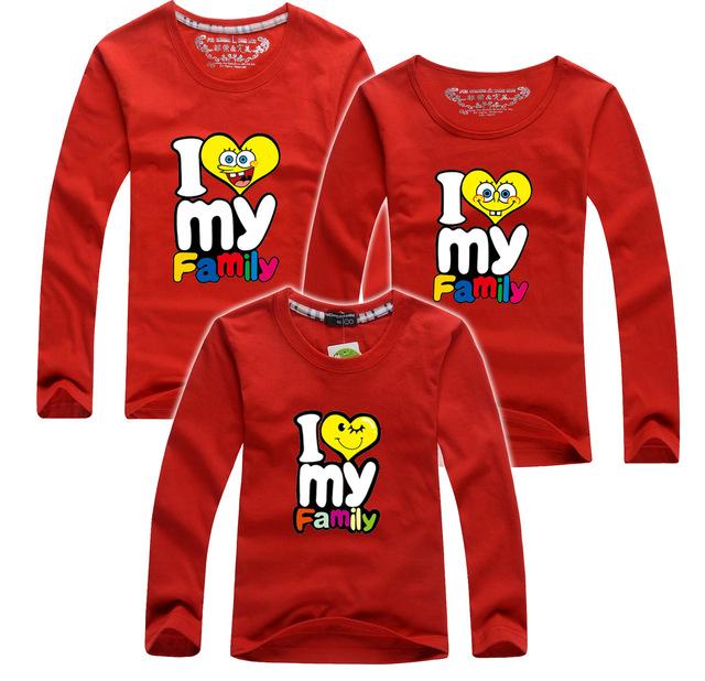Me encanta LA FAMILIA Del O-cuello Camisas de Algodón de manga Larga Camiseta de Juego de La Familia de Navidad Para El Padre Hijo Trajes Tops Ropa AF-1739