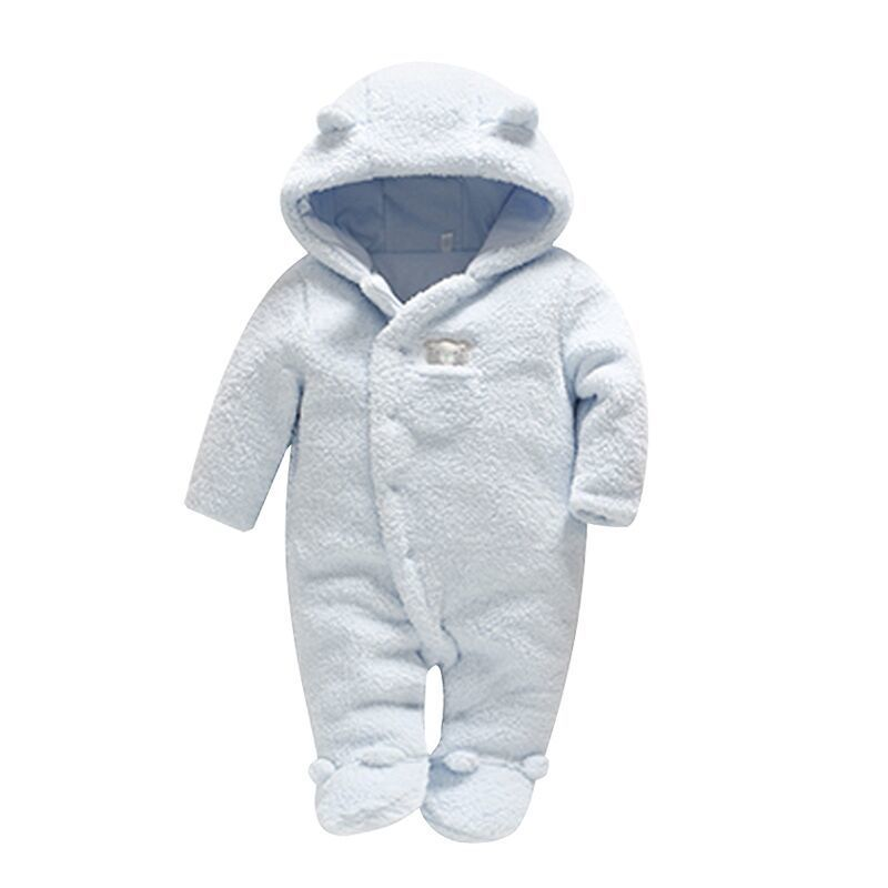 2018 Vlinder Newborn Baby Clothes Bear Baby Girl Boy Rompers Hooded Plush Jumpsuit Winter Overalls Neinato Roupa Menina 0-9M cartoon baby rompers costumes fleece newborn baby girl boy clothes winter overalls roupa bebes animal next clothing warm clothes