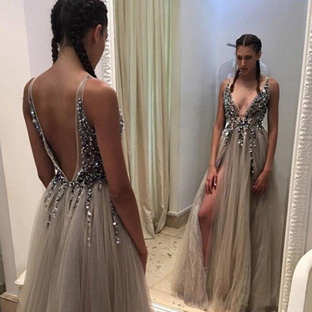 Sexy Deep V-Neck Side Split Long Evening Dress 2019 New Arrivals Backless Sparkly High Slit See Through Abendkleider Lang 3