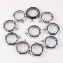 30mm Crystal Stainless Steel Floating Locket Pendant Screw Waterproof Living Glass Father day gift 10pcs