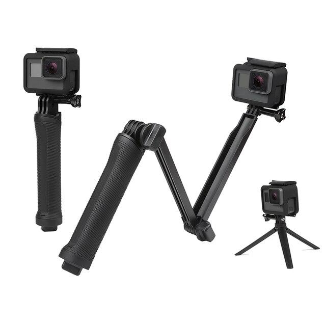 3-forma de montagem do Tripé monopé para GoPro HERÓI 1 2 3 3 + 4 ir pro SJ4000 Xiaomi Yi forma 3way câmera tripe pará pau de auto Accessorie