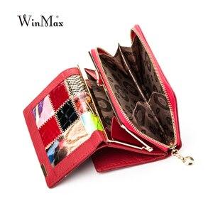 Image 2 - Winmax 새로운 패치 워크 작은 여성 지갑 여성 정품 가죽 여성 지갑 지퍼 디자인 동전 지갑 포켓 momey 주최자