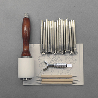 25Pcs/Set Leathercraft Tools Wooden Steel Leather Carved Hammer Printing Tool Sewing Handmade Kit Suit DIY Accessories A