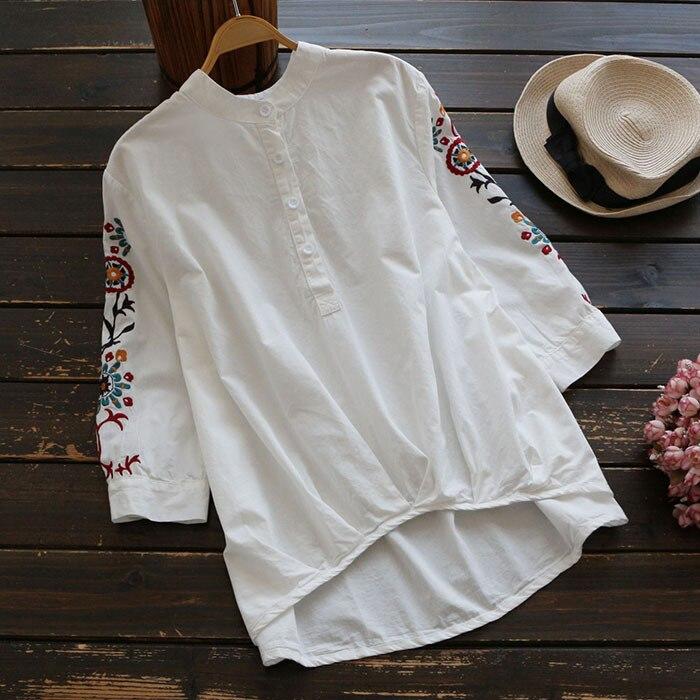 Nueva Primavera 2017 Mori chica bordado de la blusa del collar del soporte de Tr