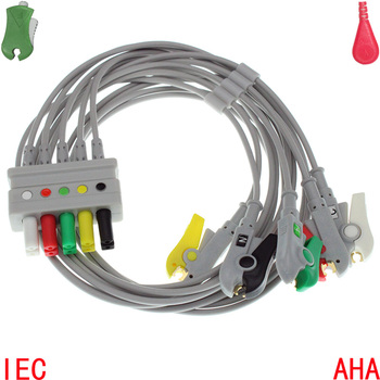 Compatible with Mindray,Siemens Patient ECG/EKG Monitor AA Plug ECG 5 leads trunk cable the leadwire for electrode pad 1