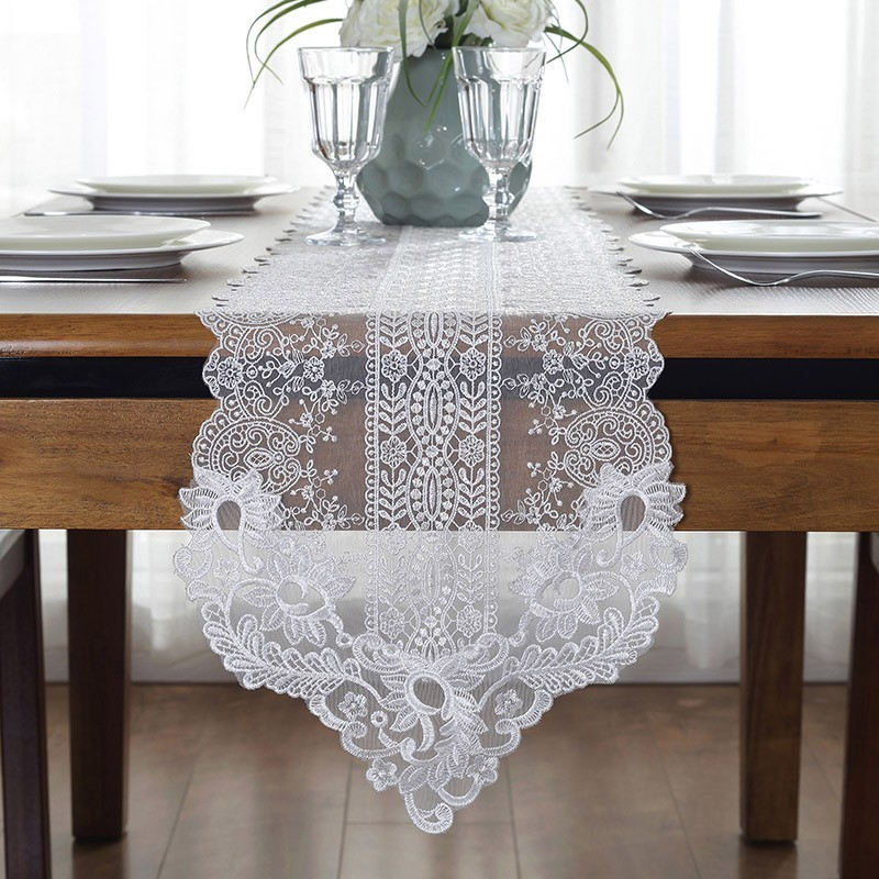European Beautiful Lace Simple Desk Cloth TV Cabinet White Coffee Table Runners For Hotel Multi-purpose Dust-proof Tablecloth