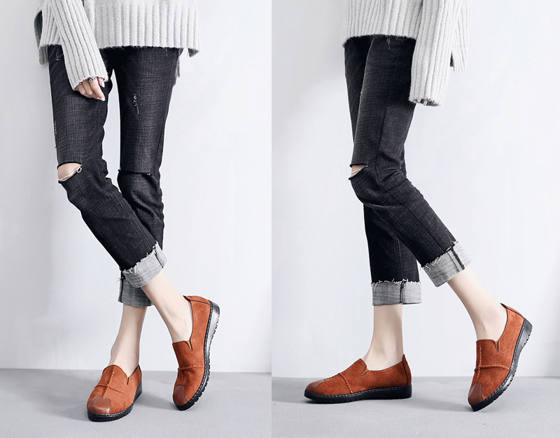 Plus Size Summer Women Flats Fashion Splice Flock Loafers Women Round Toe Slip On Leather Casual Shoes Moccasins New 2019 VT209 (8)