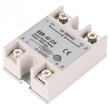 цена на Single Phase DC-AC Solid State Relay SSR-40DA 40A Input 3-32V DC Output 24-380V AC High Switching Speed Anti-vibration Relay