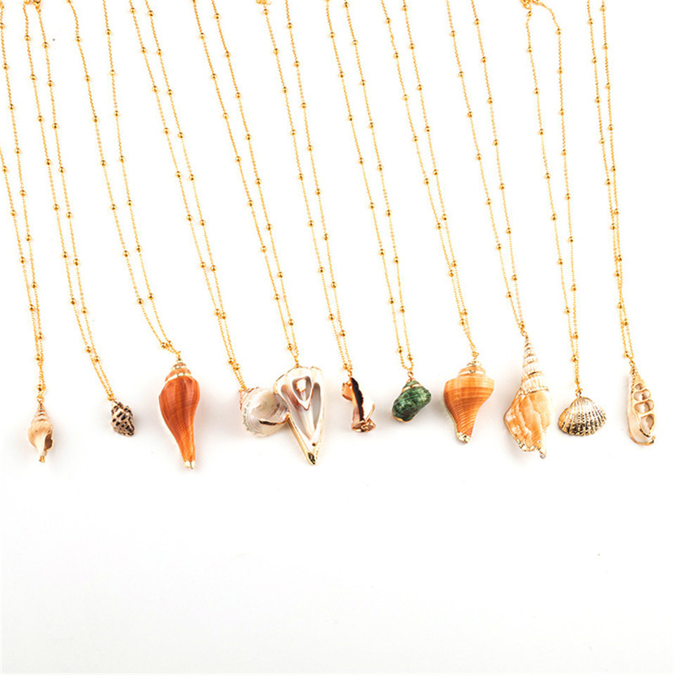 20 Styles Seashell Pendants Initial Necklace female Statement Jewlery Geometric Multix2dlayer Shells Choker Necklaces for Women (40)
