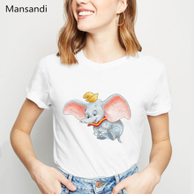 Dumbo T Shirt Women The adorable Elephant Sketch Animal Printed femme America Movie female T-Shirt streetwear