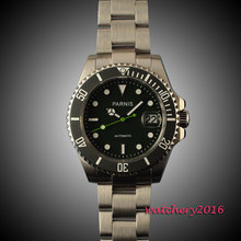 40mm parnis black dial SS Case Sapphire glass  Luminous mens watches top brand luxury automatic mechanical men's Watch