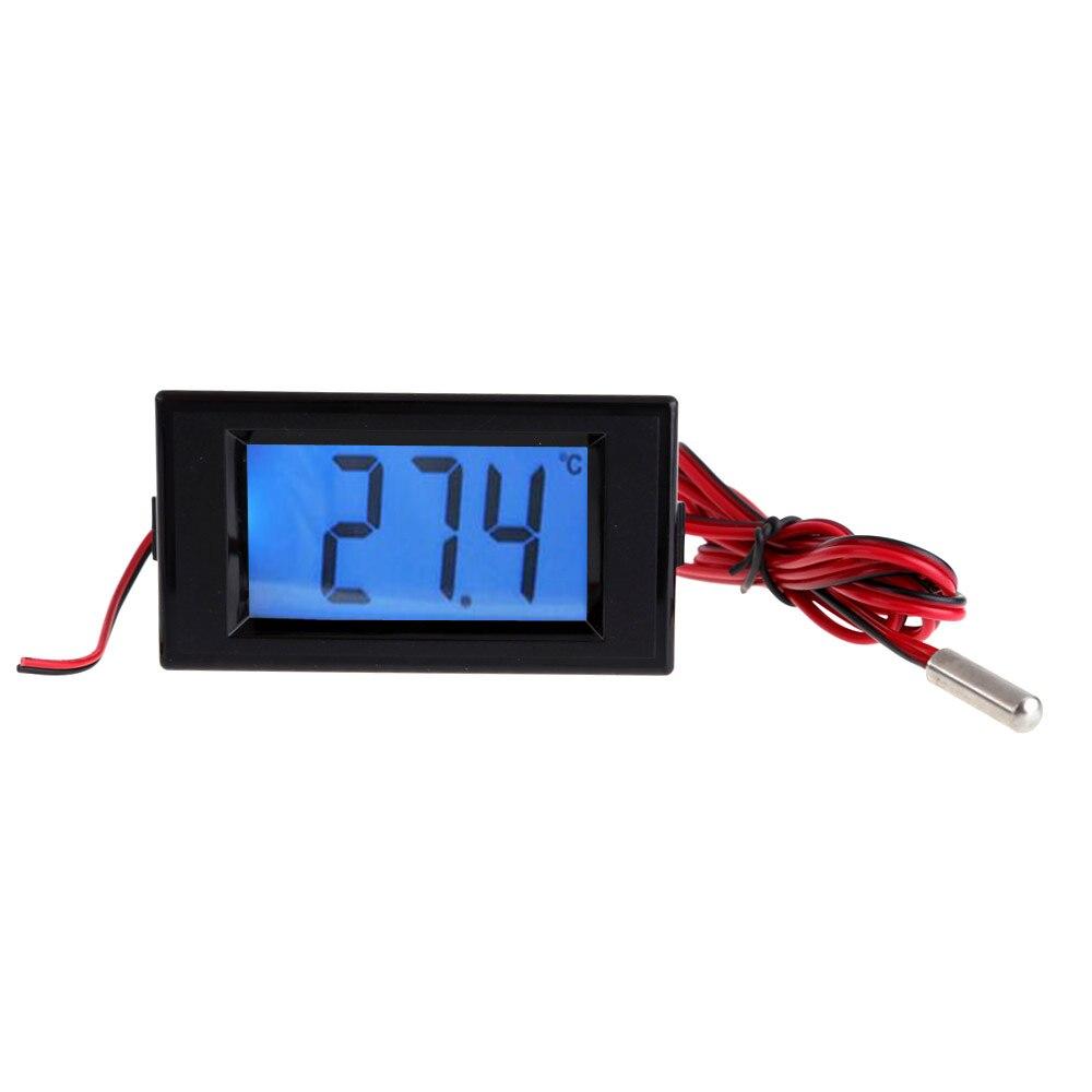 Numérique thermomètre Bleu LCD Rétro-Éclairage Thermomètre Température Panel Meter Avec Sonde Capteur-50 à 150 degrés DC/AC 9 V ~ 12 V DC