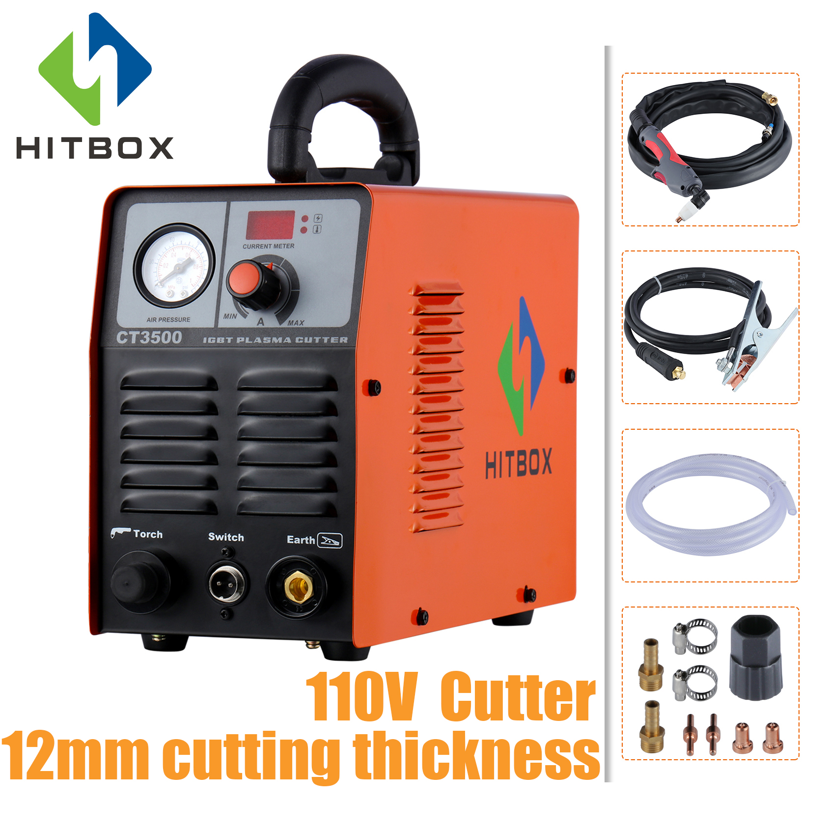 HITBOX Plasma Cutter 110V Cutting Machine Cut3500 Single Phase 110V IGBT Inverter Technology 10mm Maximum Cutting
