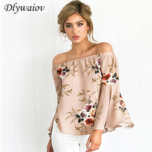 Sexy Chiffon Blouses Women 2019 Loose Off Shoulder Shirts Female   Tops Fashion Printing Bell sleeve Femme Blouse Three Quarter bell sleeve rhinestoned scalloped blouse