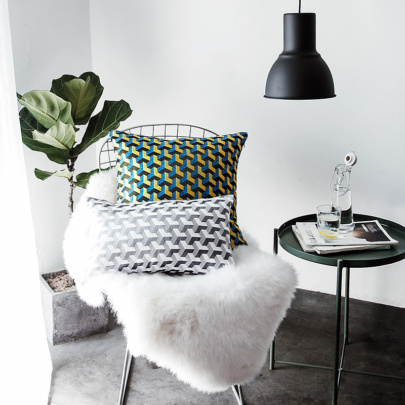 Contemporary Sofa Geometric Pillows: Aliexpress.com : Buy Dobby Modern Geometric Striped Plaid