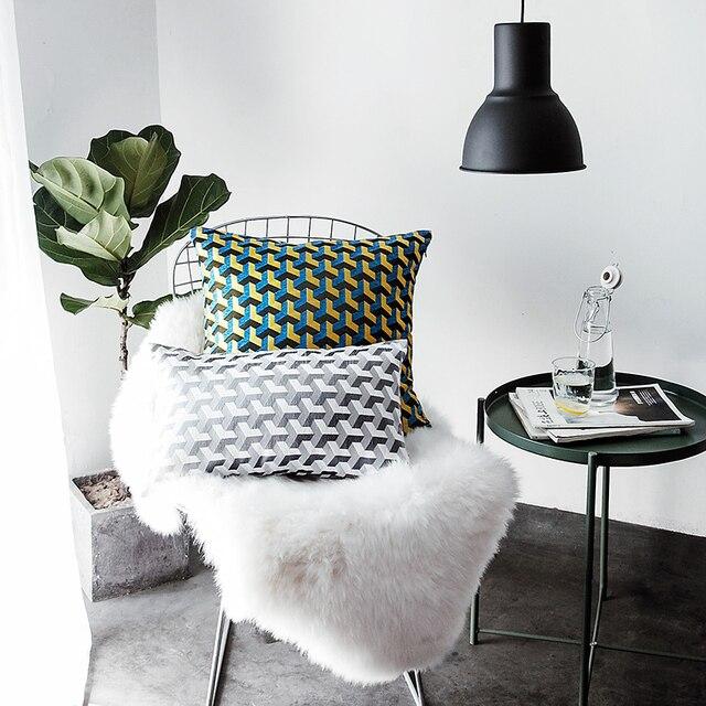 Dobby Modern Geometric Striped Plaid Nordic Design Cushion Back Sofa Bed Lumbar Pillow Throw