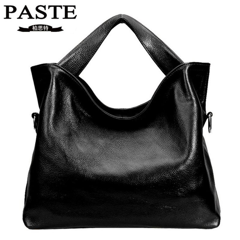 Luxury Brand PASTE Women Bag Fashion Genuine Leather Women's Messenger Bags Solid Soft Cowhide Lady Handbag Casual Tote 2016 newest luxury brand women bag fashion design cowhide leather handbag lady totes sequined original shoulder bag