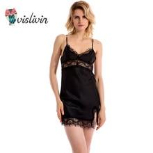 Vislivin сексуальная женщина кружева пижамы платье одежда ночное шелковой ночной рубашке подвески дамы pijamas спинки плюс размер костюмы