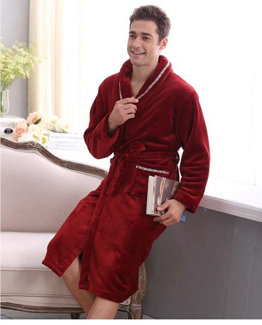 Outono e inverno coral fleece roupão de veludo robe espessamento roupões de flanela robe salão sleepwear roupões de banho dos homens do sexo masculino
