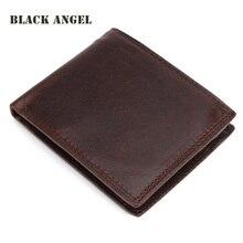 Neue Männer Echte Crazy Horse Leder Brieftaschen Rind Männliche Kurze Bifold kartenhalter brieftasche Geldbörse, carteira masculina