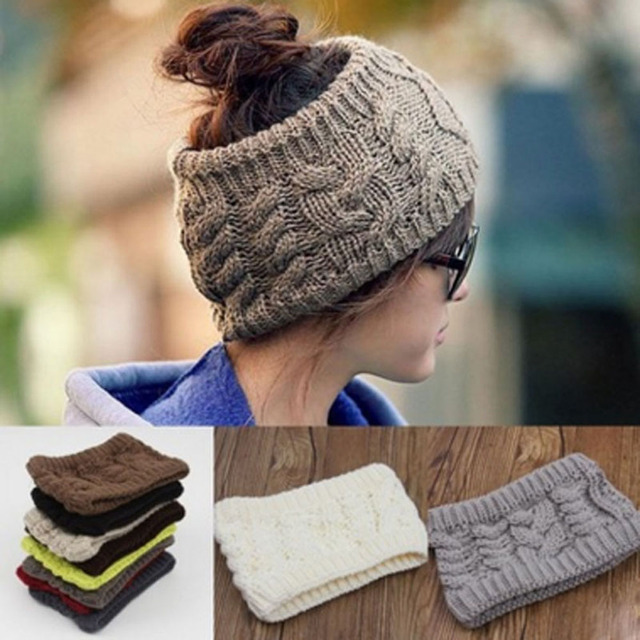 9e842793168 Fashion 1PC Women Unisex Stretchy Knitted HairBands Braided 2018 Winter  Warm Soft Knit Wool Ski Cap