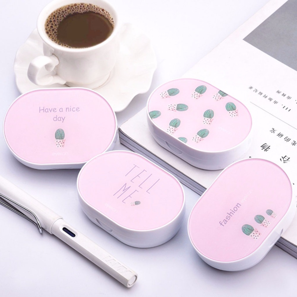 Fashion New Women Girls Contact Lens Box Pink Cactus Portable Case Storage Container Travel With Mirror