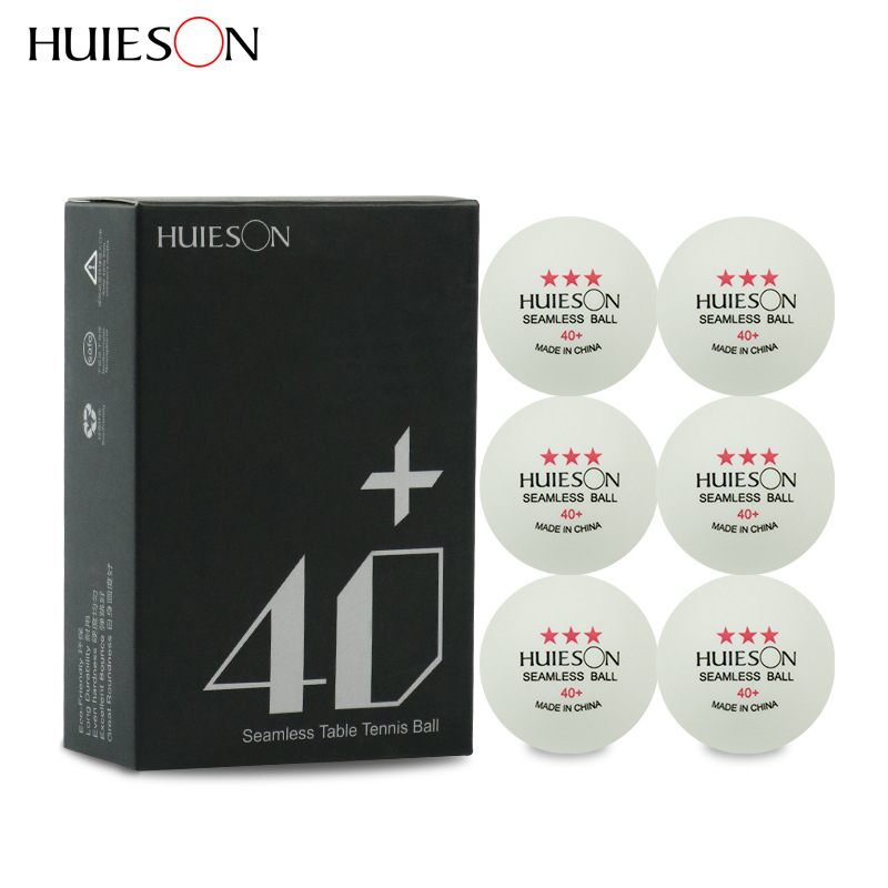 Huieson 6Pcs/Box Seamless Plastic Table Tennis Balls ABS New Material Poly Ping Pong Ball 40+ 2.8g Table Training Balls 2 Colors