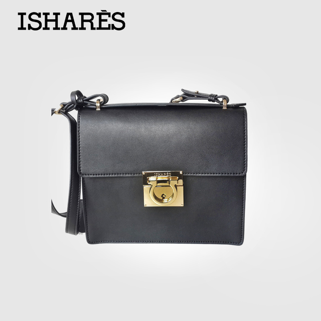 ISHARES Retro ladies black  flap mini Bag vintage buckle superior cowhide handbags shoulder bag for women IS8026