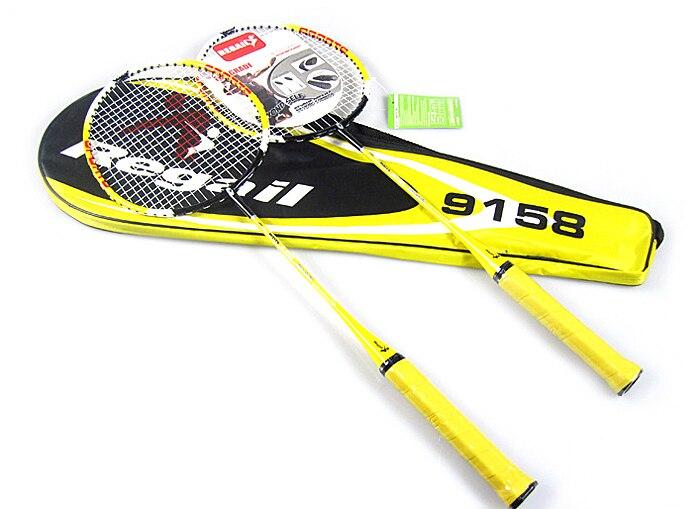 2018 100% NOUVEAU Regail 9158 Durable Vitesse Badminton Raquette Battledore Raquette avec Sac de Transport pour Les Couples Jaune Couleur 1 paire