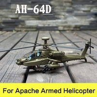 Prenoy Military Alloy Airplane Model Fighter AH 64D US Carrier Apache Armed Helicopter Diecast Scale Model Toys Stand Craft 1:72