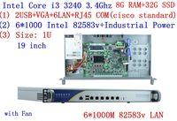 cheap server rack 1U routers 6*1000M 82583V Gigabit InteL I3 3240 3.4Ghz 8G RAM 32G SSD support ROS RouterOS Mikrotik