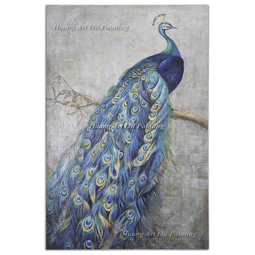 Original Hand Painted Nobl Blue Peacock Oil Painting on Canvas Paintings Hotel Decor Impression Animals Paintings Wall Painting
