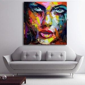 Image 2 - גדול גודל יד צבוע מופשט דמות ציור שמן על בד אישה פנים קיר תמונות לסלון חדר שינה בית תפאורה