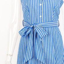 Blue Striped Bow Bandage Dress